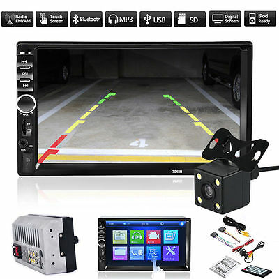 """2 Din 7"""" Bluetooth Car In-Dash Stereo MP5 Player Touch FM Radio USB AUX + Camera"""