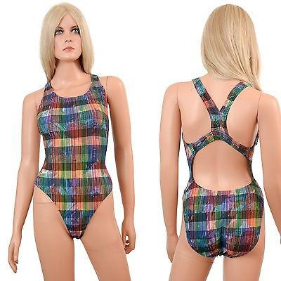 Vtg 80s SPEEDO Racer Back Swimsuit One-Piece HI CUT LEGS High Thigh Plaid XS 32