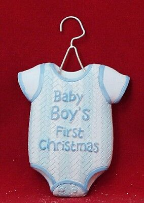 "Baby Boy Blue Outfit 1st CHRISTMAS Holiday Resin 4"" Ornament Shower Gift"