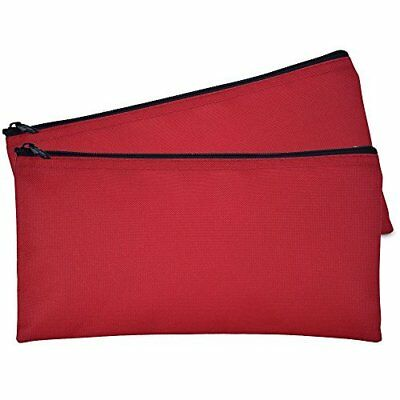 DALIX Bank Bags Money Pouch Secur Deposit Utility Zipper Coin Bag Red 2