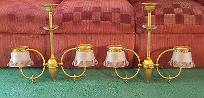 Vintage Gas Lights Ceiling Lamp Antique Brass Greek Key Shades Frosted Beautiful