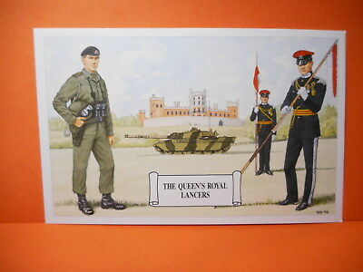 Military Postcard THE QUEEN'S ROYAL LANCERS. types of dress...