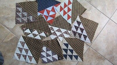 Lot of (9) Antique Vintage FLYING GEESE Patchwork Quilt Blocks, Crafts