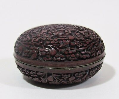 Antique Chinese Deeply Carved Cinnabar Lacquer Paste Box