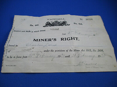 1921 Miner's Right Issued In Ballarat, To A Charles Lord. Magnificent! Must have