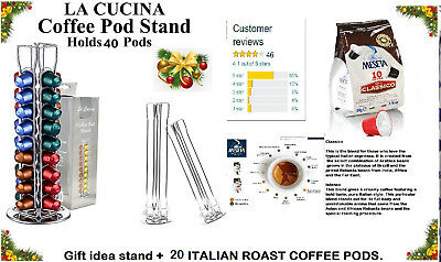 NEW ROTATING COFFEE CAPSULE HOLDER Nespresso + 40 compatible Pods italian roast.