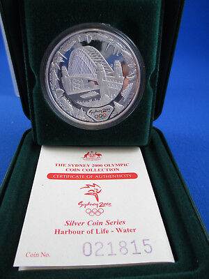 2000 $5 Sydney Olympic 1Oz Silver Coin - Harbour Water - Superb!!