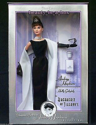 """Audrey Hepburn Barbie Doll Breakfast at Tiffany's Givenchy Black Gown EXCELLENT"""""""