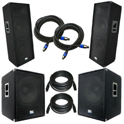 """Set of Dual 15"""" PA Speakers & Set of Powered 18"""" Subs with Cables  DJ PA Package"""