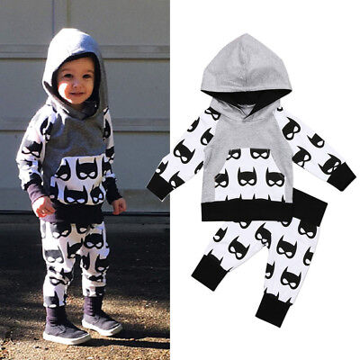 USA Kids Toddler Baby Boys Batman Hooded Tops Coat Pants Outfits Clothes 0-5T