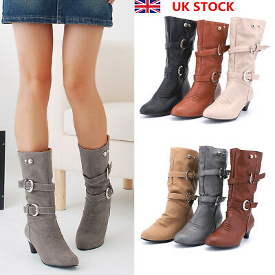 Women Ladies Calf Knee High Chunky Heel Suede Soft Boots Wedge Buckle Shoes Size