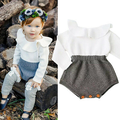 USA Newborn Baby Girls Wool Knitted Tops Romper Shorts Sweater Outfits Clothes