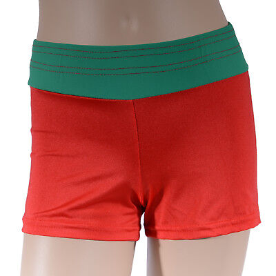 Girls Red Green Bike Shorts, Girl's Athletics Christmas Dance Gym Gymnastics