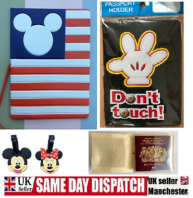 Kids Mickey Minnie Mouse Passport Cover Holder Wallet Lauggage Tag  USA Disney