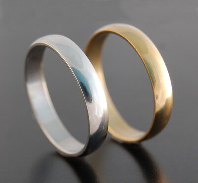 4mm Stainless Steel Silver or Gold Plated Wedding Mens Band Womens Ring K to Z+2