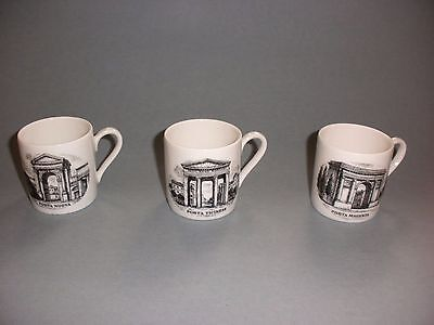 Piero Fornasetti Le Porte Di Milano 3 Porcelain Cups Signed Limited Edition Mint