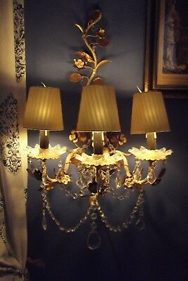 Vintage Gilt French-Italian Crystals Chandelier Wall Sconce