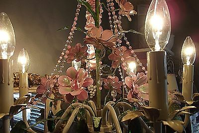 Vintage Gilt French-Italian Crystals PINK Chandelier Wall Sconce Roses Flowers