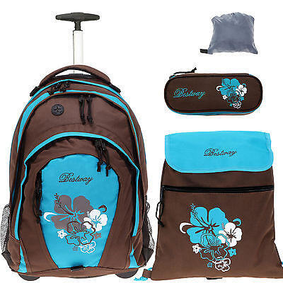 4T Set Trolly BESTWAY ROLLIN Rucksacktrolley Schultrolley Rucksack FLOWER TÜRKIS