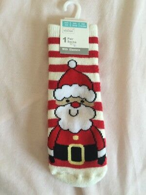 Childrens Christmas Socks Size 3-5 UK With Rubber Grips On Sole Boys Girls Santa