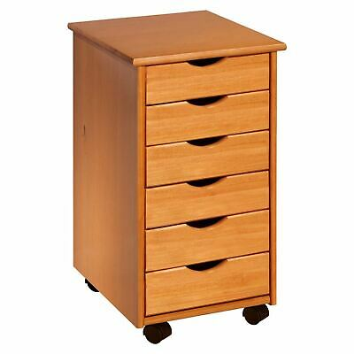 NEW 6 Drawers Rolling Storage Office Organization File Wheeled Pine Craft Cart