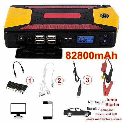 82800mAh Pack Car Jump Starter Emergency Charger Booster Power Bank Battery Kit