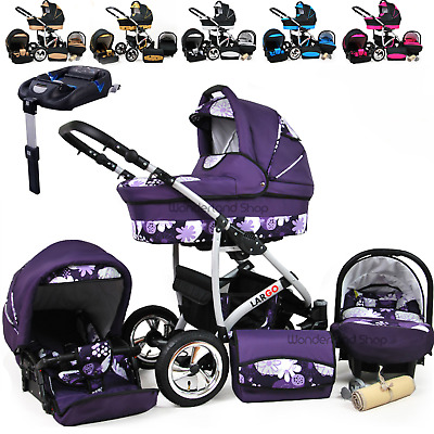 Baby Pram 3in1 Newborn Car Seat Travel System  Carrycot  Pram Buggy ISOFIX BASE