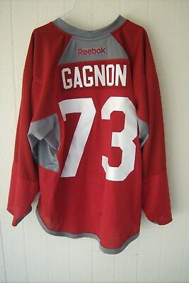 ARIZONA COYOTES Ryan Gagnon worn red RBK #73 practice jersey w/NOB (rookie camp)