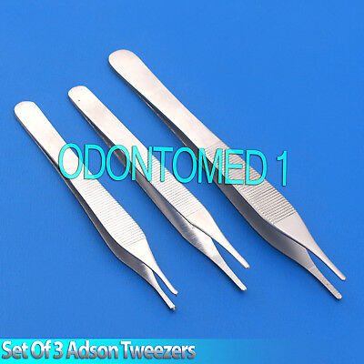 SET OF 3 KOCHER MICRO ADSON TWEEZERS TISSUE DRESSING FORCEPS - 12cm/15cm/1x2