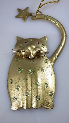 Vintage Gold Metal Kitty Cat With Star Christmas Holiday Ornament Glitter Shiny