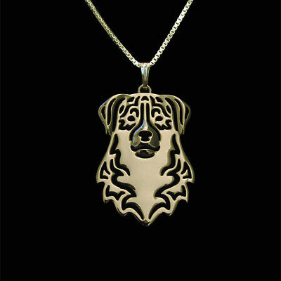 Australian Shepherd Dog Pendant Necklace Gold Tone Animal Rescue Donation