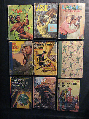 Book lot of 9 - most 1950's-60's Lassie, Roy Rogers, Tarzan, Tom Swift, etc