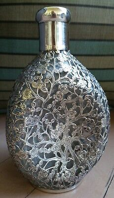 Antique Chinese Export Sterling Silver Overlay Decanter Bottle Cherry Blossom