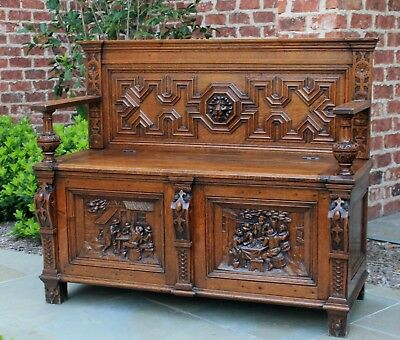 Antique French Oak Jacobean Monk's Hall Bench Settee Pew Banquette Lion's Mask