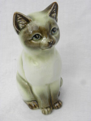 Vintage Porcelain Olive Green, Brown and White Siamese Cat Figure