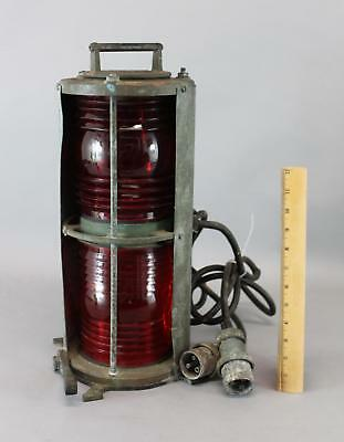 Vintage Perko Double Red Lens Brass & Copper Nautical Boat Ship Light Lamp