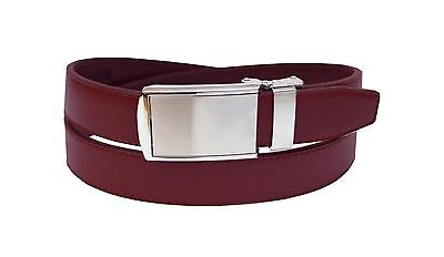 Men's Genuine Leather Ratchet Dress Belt with Automatic Buckle Brown & Burgundy