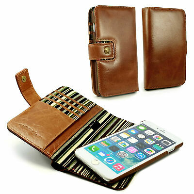 Alston Craig Genuine Leather Magnetic Shell Folio Wallet Case for iPhone 8-Brown