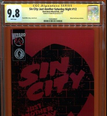 Sin City Just Another Saturday Night # 1/2~Cgc Ss 9.8~Signed By Frank Miller~