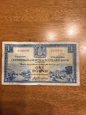 One Pound Clydesdale & North Of Scotland Bank