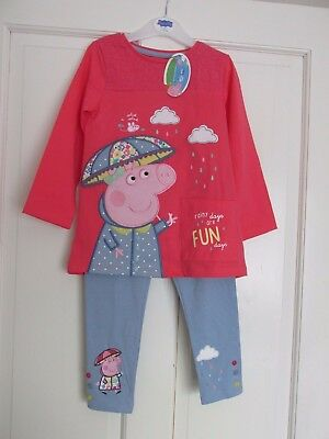 Girls Peppa Pepper Pig Dress Top & Leggings Long Sleeve Set Character Outfit New