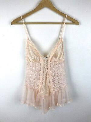 Vintage 80s Peach Camisole Top Sheer Lace Ruffle Lingerie Negligee Tulle Satin