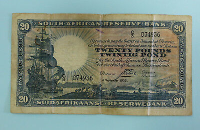 SOUTH AFRICA Twenty Pounds 1933  *J.Postmus*  (BR203)