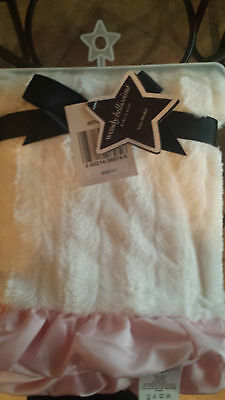Wendy Bellissimo White Plush Minky Fur Satin Pink Baby Crib Blanket NWT!