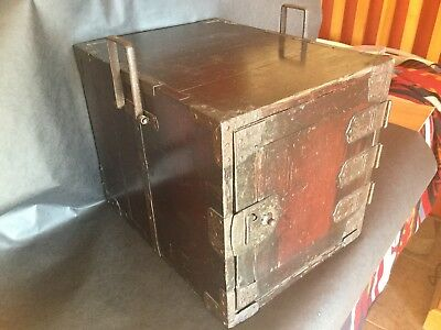 Small Japanese Antique 150 Year Old Edo Era Wooden Tansu 11 1/2-14 1/2-12 High
