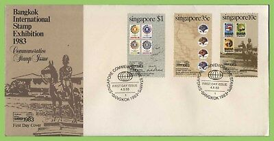 Singapore 1983 Bangkok Int Stamp Exhibition set First Day Cover
