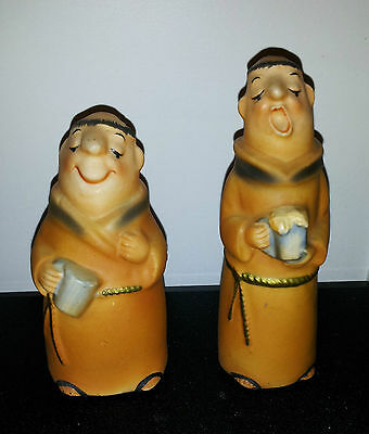 Vintage Stewed Monks With Mugs Of Brew Salt & Pepper Shakers!!!
