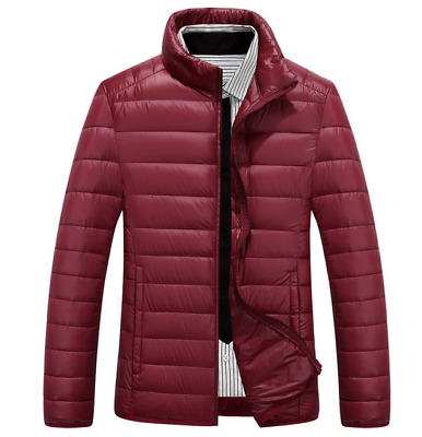 New Men's Fashion Duck Down Winter Jacket Padded Coat wine Red