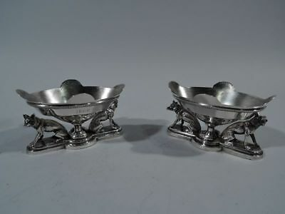 Gorham Open Salts - Antique Fox Foxes Hunt Hunting Pair - American Coin Silver
