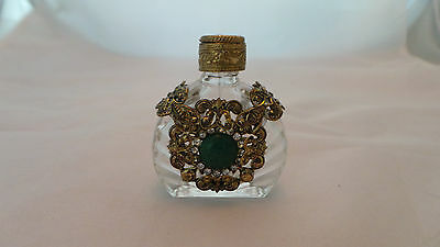 Vintage Ornate Metal Over Glass Perfume Bottle Unique Beautiful W/ Glass Dipper